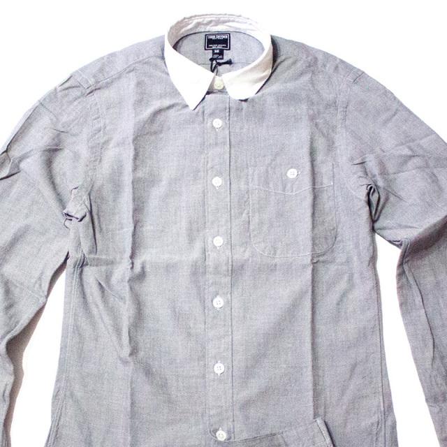 トッドスナイダー Todd Snyder:CHAMBRAY WHITE COLLAR SPORT SHIRT GREY/セパレーテッドシャンブレーシャツ