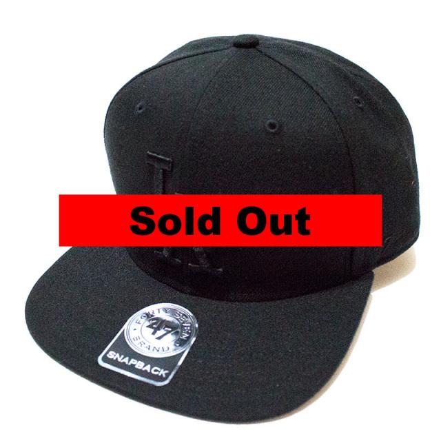正規取扱店 フォーティーセブンブランド 47 Brand:DODGERS SURE SHOT BLACK '47 CAPTAIN Black×Black/ドジャース スナップバックキャップ ブラック×ブラック