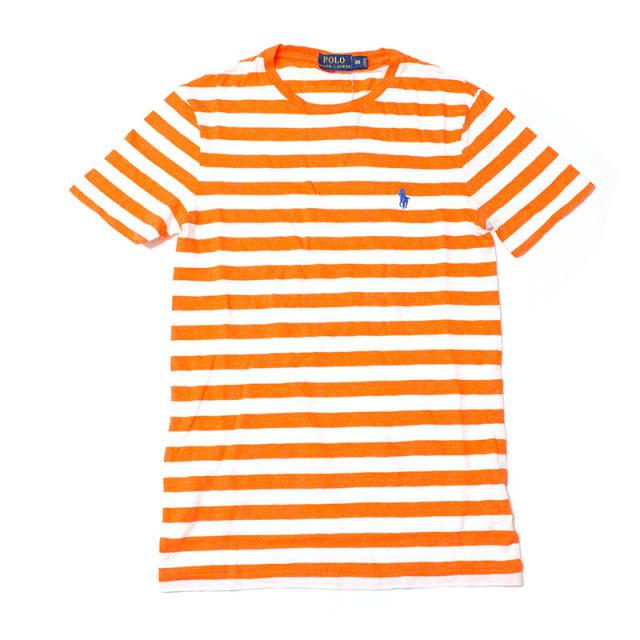 ポロ ラルフローレン Polo Ralph Lauren:STRIPED COTTON JERSEY T-SHIRT Orange/ボーダーTシャツ オレンジ