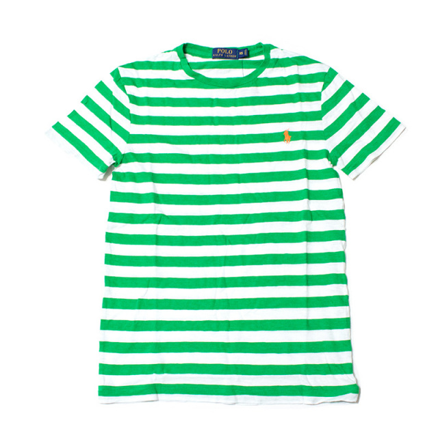 ポロ ラルフローレン Polo Ralph Lauren:STRIPED COTTON JERSEY T-SHIRT Green/ボーダーTシャツ グリーン