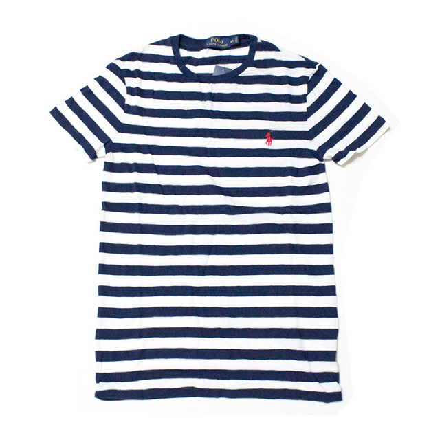 ポロ ラルフローレン Polo Ralph Lauren:STRIPED COTTON JERSEY T-SHIRT Navy/ボーダーTシャツ ネイビー
