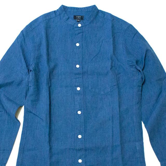 ジェイクルー J.crew:SLIM INDIGO COTTON-LINEN BAND-COLLAR SHIRT/スリム インディゴリネン バンドカラーシャツ