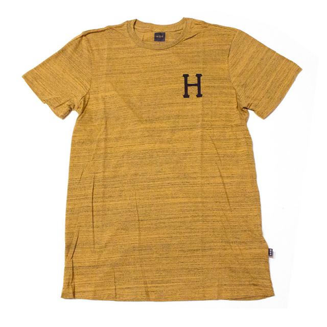 ハフ HUF:CLASSIC H STREAKY WASH TEE Mustard/ストライプウォッシュTシャツ マスタード