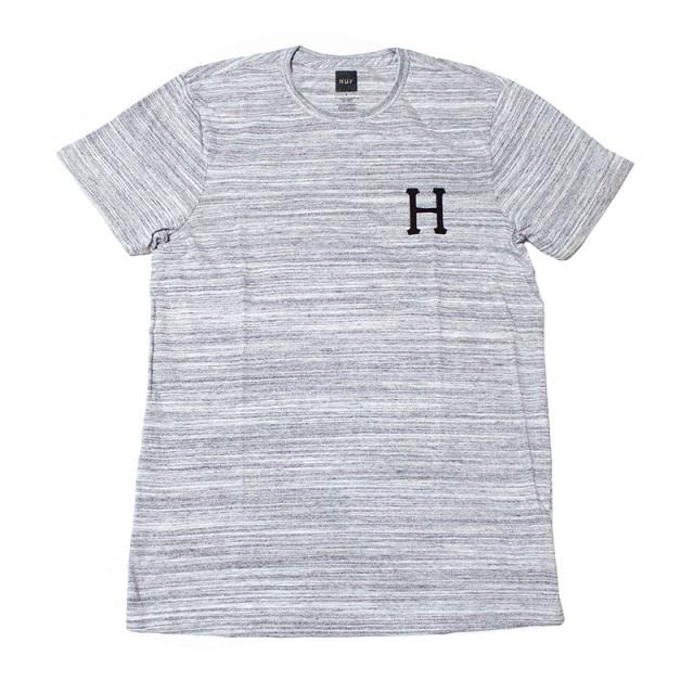 ハフ HUF:CLASSIC H STREAKY WASH TEE Gray/ストライプウォッシュTシャツ グレー