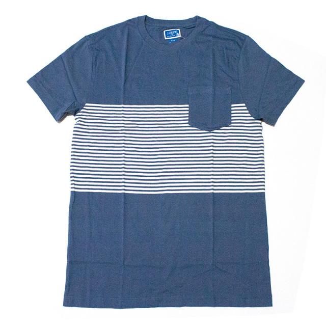 ジェイクルー J.crew:SLIM PLACED-STRIPE T-SHIRT/スリム ポケットTシャツ