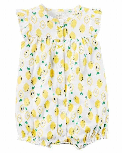 【送料無料】カーターズ Carter's ロンパース 半袖 ショートオール ベビー服 女の子 レモン 6m 9m 12m 18mかわいい 新生児 乳幼児 服 カバーオール