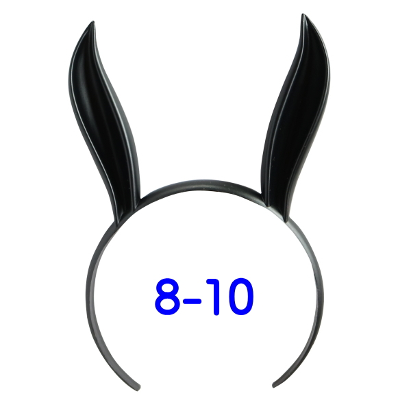 うさみみカチューシャ 8-10インチ(ブラック)