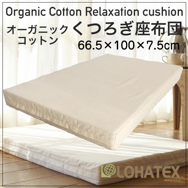 高反発寝具 LOHATEX くつろぎ座布団 厚さ7.5cm ファスナー付アウトカバー 66.5×100×7.5cm 取り外し・洗濯可能