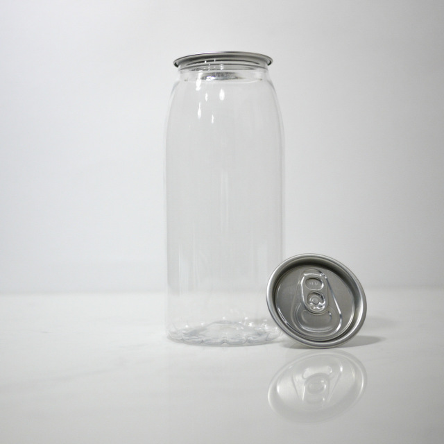 TOP-CAN専用透明ボトル容器 650ml  100個蓋付(プルタブtype)