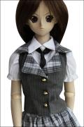 DD用チェックベスト、スカート、半袖白シャツ、ソックスセット L胸用