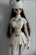 DDのL胸用 レーザーミニスカートとブラーセット 白