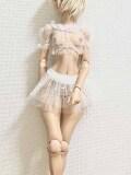 Angelphilia(vmf50)用チュールレースのギャザートップス&スカートセット 白