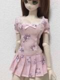 DDのL胸専用 プリッツワンピース ピンク柄