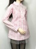 オビツ50/Angelphilia(vmf50)用 シャツワンピース 白*ピンク ストライプ
