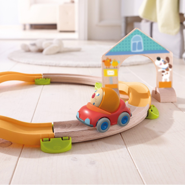 はじめての木プラレールセット クラビュースターターキット 木のおもちゃ はじめての車とレールセット HABA社 ハバ社 2歳 3歳 4歳