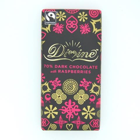 DIVINE ラズベリーダークチョコレート(カカオ70%) 90gバー