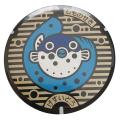 ご当地マンホール缶バッジ 山口県下関市 「フクフクマーク」  【メール便可能】