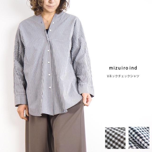 mizuiro ind ミズイロインド Vネック チェックコットンシャツ レディース