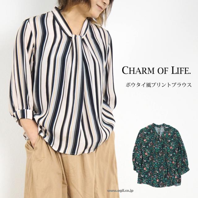 CHARM OF LIFE. チャームオブライフ ボウタイ風 プルオーバーブラウス 5分袖 レディース