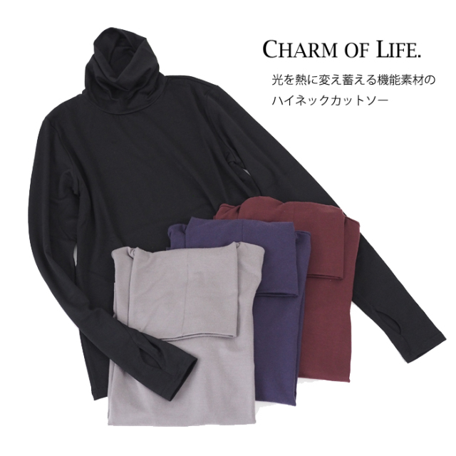 CHARM OF LIFE. チャームオブライフ ハイネック プルオーバーカットソー 指穴付き レディース