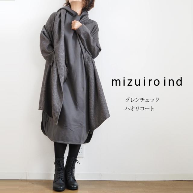 mizuiro ind ミズイロインド グレンチェック ライトコート ウールブレンド レディース