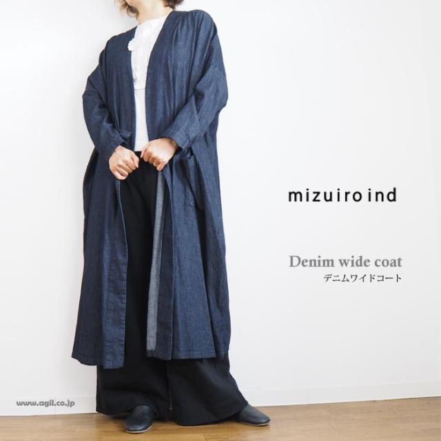 mizuiro ind ミズイロインド デニムワイドコート ハオリ レディース