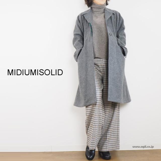 MIDIUMISOLID ミディウミソリッド チェスターコート アクリルウールメルトン素材 グレー レディース