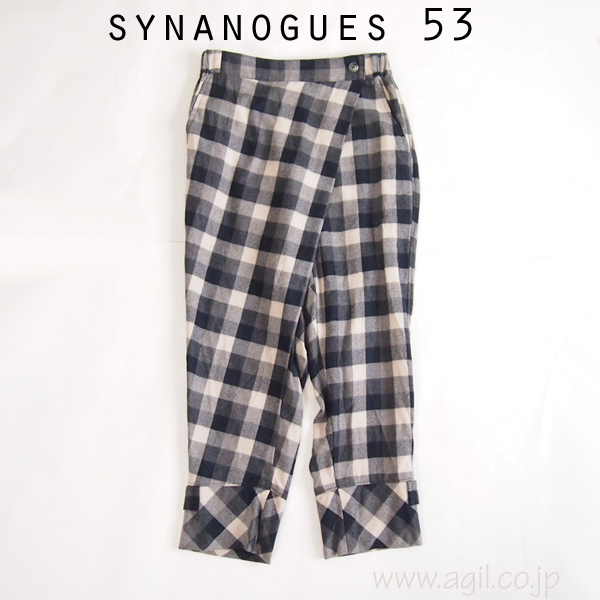 SYNANOGUES 53 (シナノーグ) サルエル ウール ラップパンツ チェック柄 レディース
