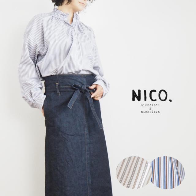 NICO,nicholson & nicholson (ニコ,ニコルソンアンドニコルソン) ギャザー襟 ストライプブラウス レディース