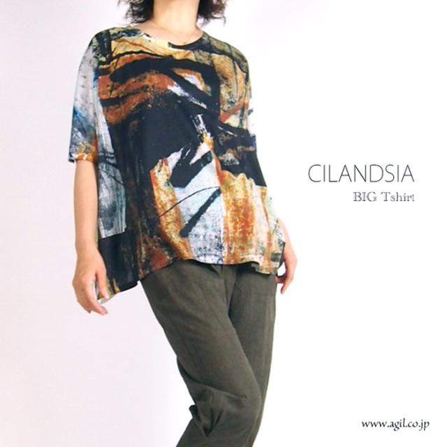 CILANDSIA チランドシア 総柄プリント ビッグTシャツ 半袖 レディース メンズ
