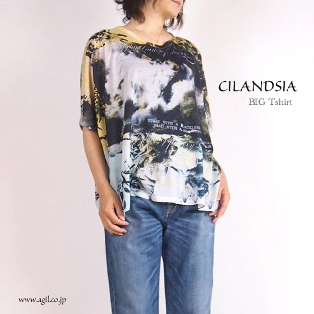 CILANDSIA チランドシア 総柄プリント ビッグTシャツ 半袖 0033 レディース メンズ
