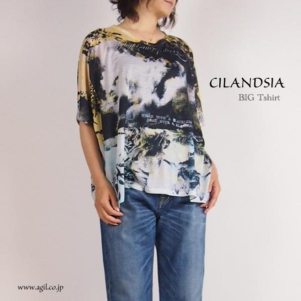 CILANDSIA(チランドシア) 総柄プリントビッグTシャツ 半袖 レディース メンズ