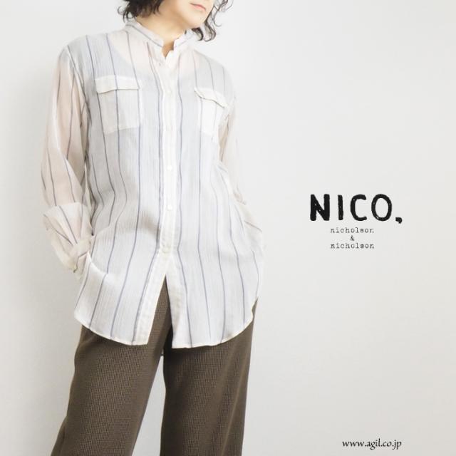 NICO,nicholson & nicholson (ニコ,ニコルソンアンドニコルソン) バンドカラー 楊柳 シャツ ストライプ レディース