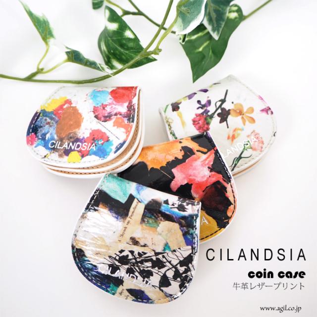 CILANDSIA(チランドシア) 牛革プリントレザー コインパース ミニ財布 ラミネート加工 メンズ レディース
