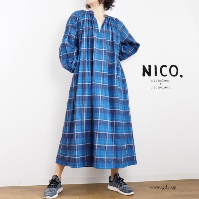 NICO,nicholson & nicholson (ニコ,ニコルソンアンドニコルソン) ネックギャザー サックワンピース ブルーチェック柄 レディース