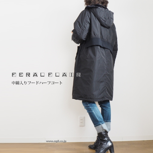FERAL FLAIR フィラルフレア 重ね着風ハーフコート マイクロファイバーメモリータフタ レディース