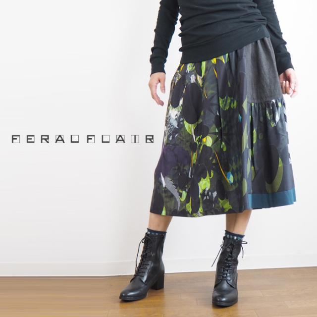 FERAL FLAIR フィラルフレア ギャザーフレアー プリントスカート レディース