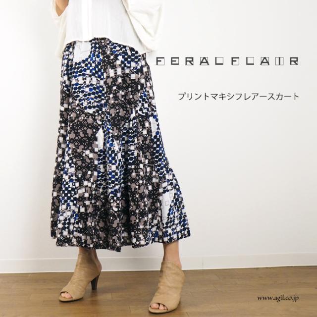 FERAL FLAIR (フィラルフレア) プリント マキシ フレアースカート レディース
