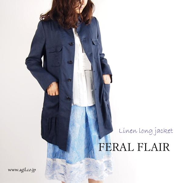 FERAL FLAIR (フィラルフレア) リネンレーヨンカルゼ ロングジャケット ネイビー|レディース