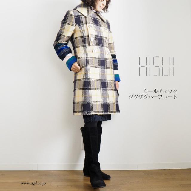 HISUI HIROKOITO (ヒスイヒロコイトウ) ジグザグ ウールチェックハーフコート レディース