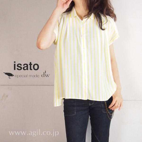 isato design works (イサトデザインワークス) タックプリーツストライプブラウス レディース