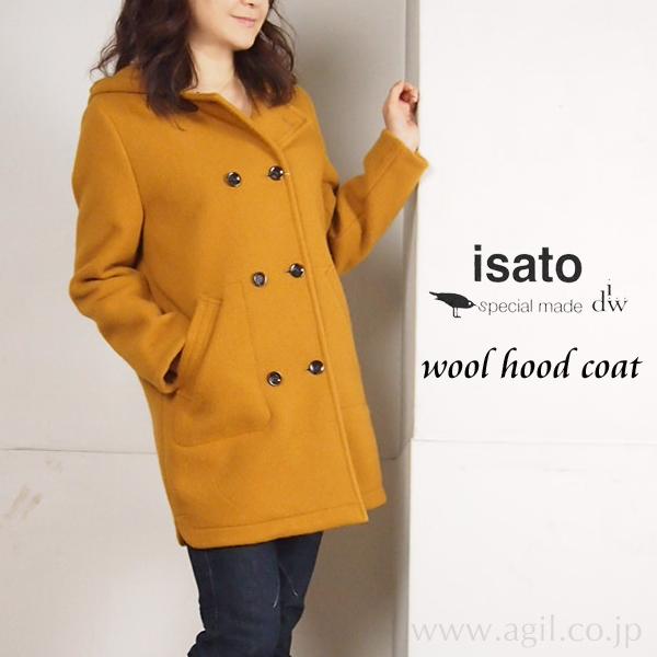 isato design works (イサトデザインワークス) ボンディング ウール ハーフコート|キャメル|レディース