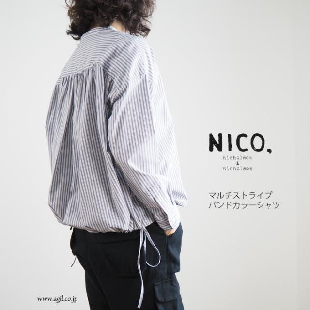 NICO,nicholson & nicholson (ニコ,ニコルソンアンドニコルソン) マルチストライプ バンドカラー長袖シャツ レディース