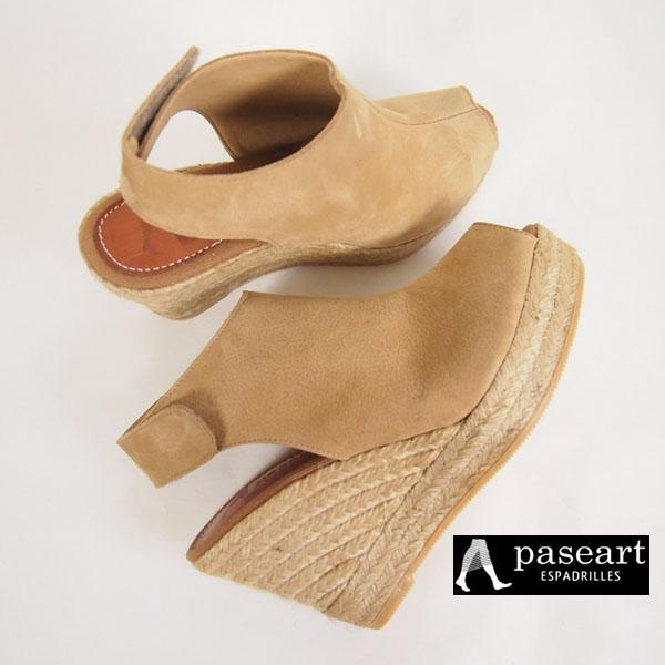 paseart(パサート) カーフレザー エスパドリーユ ウェッジサンダル|ベージュ・ヌードカラー