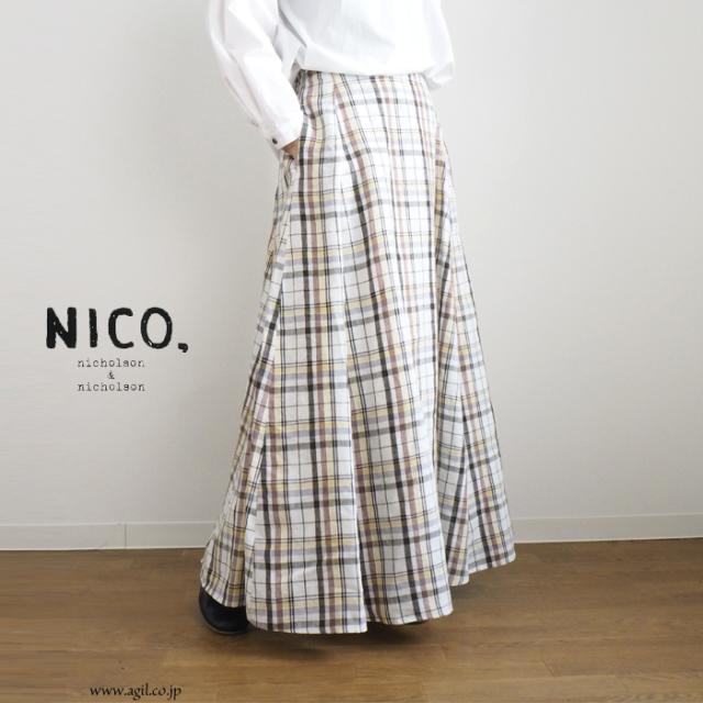 NICO,nicholson & nicholson (ニコ,ニコルソンアンドニコルソン) リネン マキシフレアースカート チェック柄 レディース