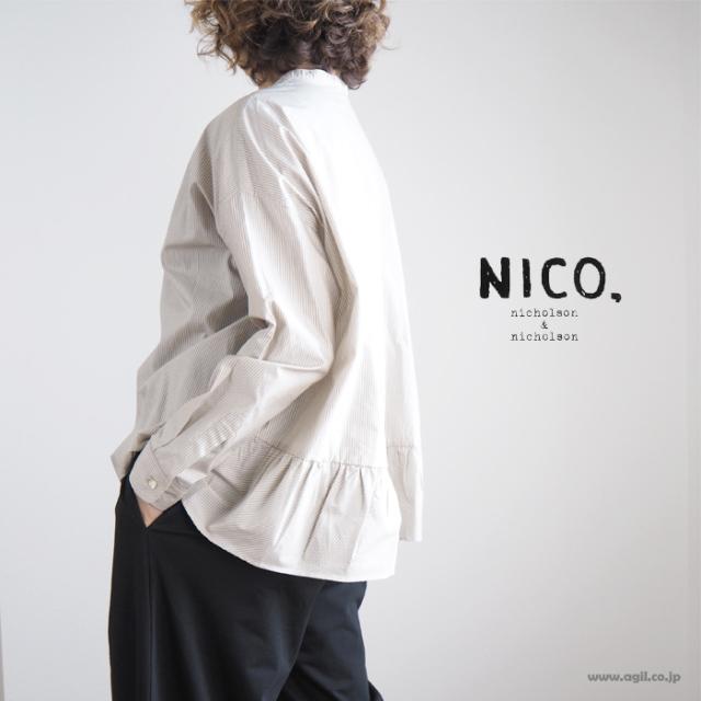 NICO,nicholson & nicholson ニコ,ニコルソンアンドニコルソン 長袖ブラウス バックギャザーヘム ストライプ レディース 送料無料