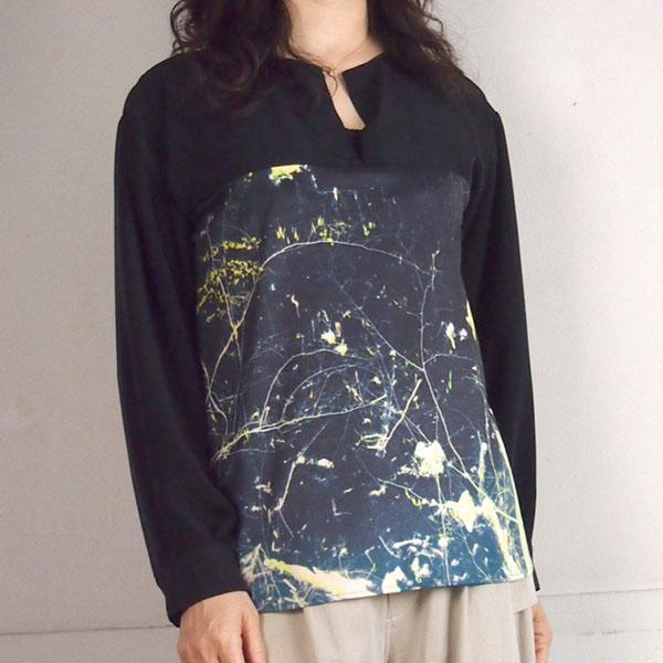 you ozeki(ユウ オゼキ) 長袖プリントノーカラーシャツ|ブラック系|レディース メンズ