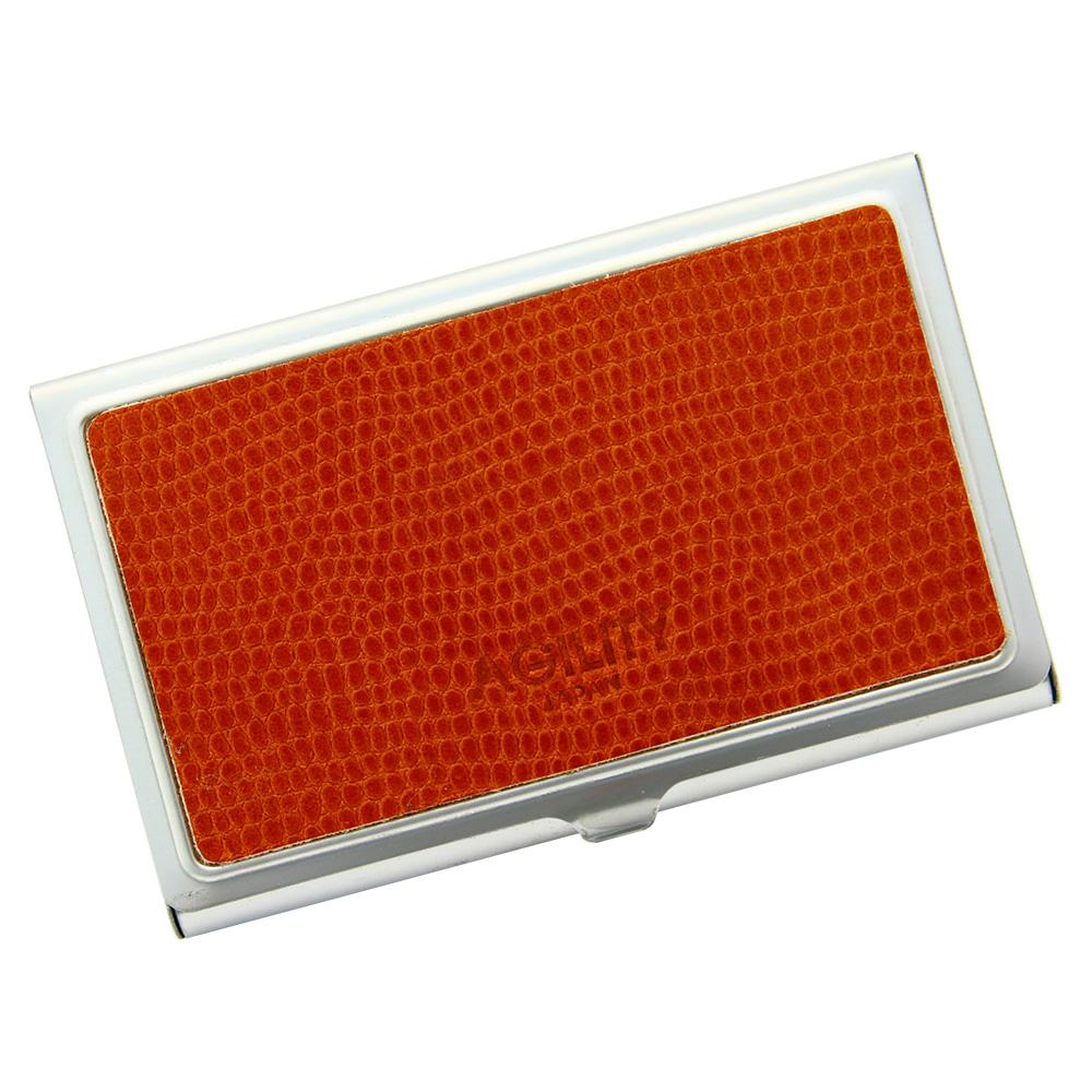 名刺入れ カードケース ステンレス 金属 スタイリッシュ 薄い 軽量 キャメル