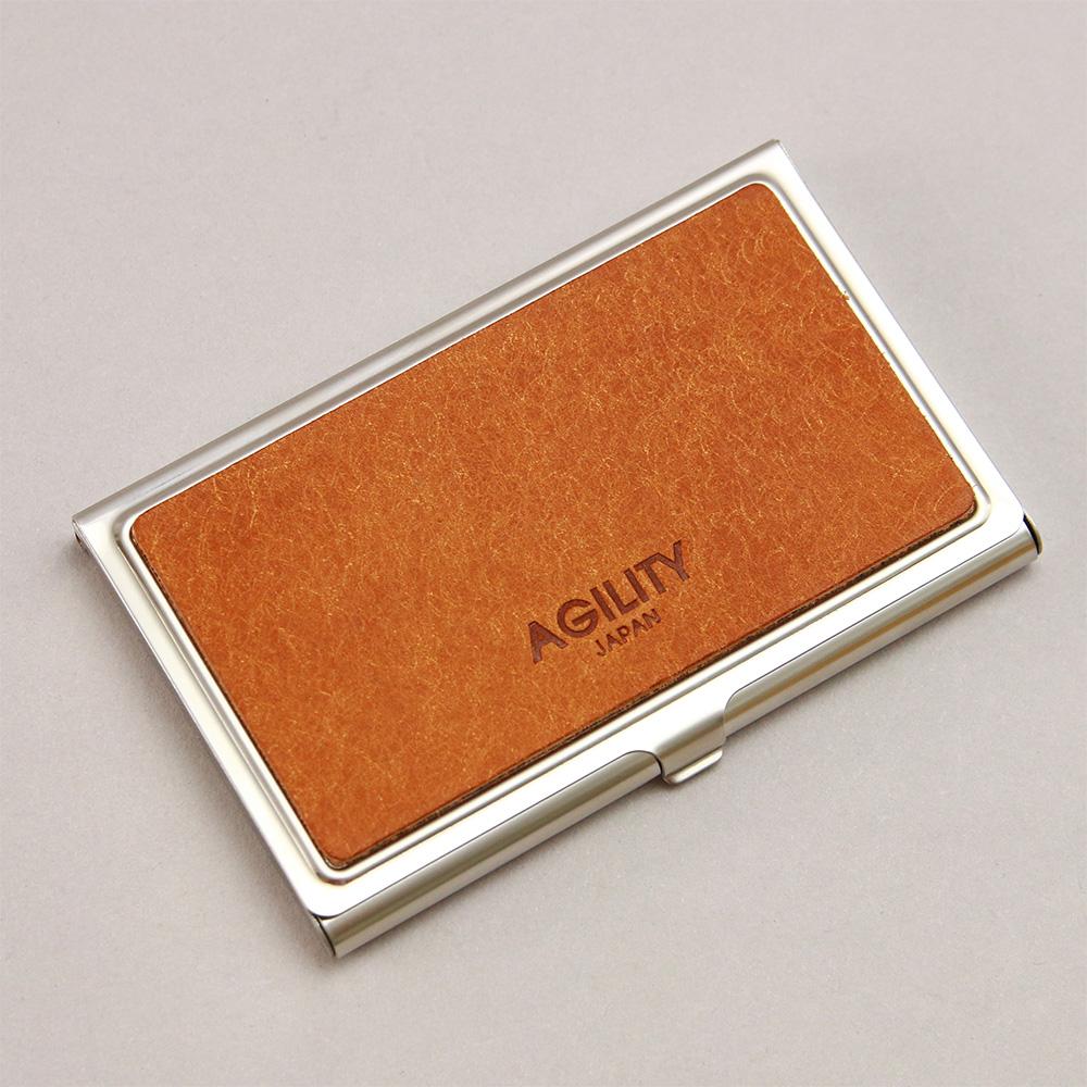 カードケース 名刺入れ 金属 ステンレス 牛革 レザー ビジネス小物 プレゼント