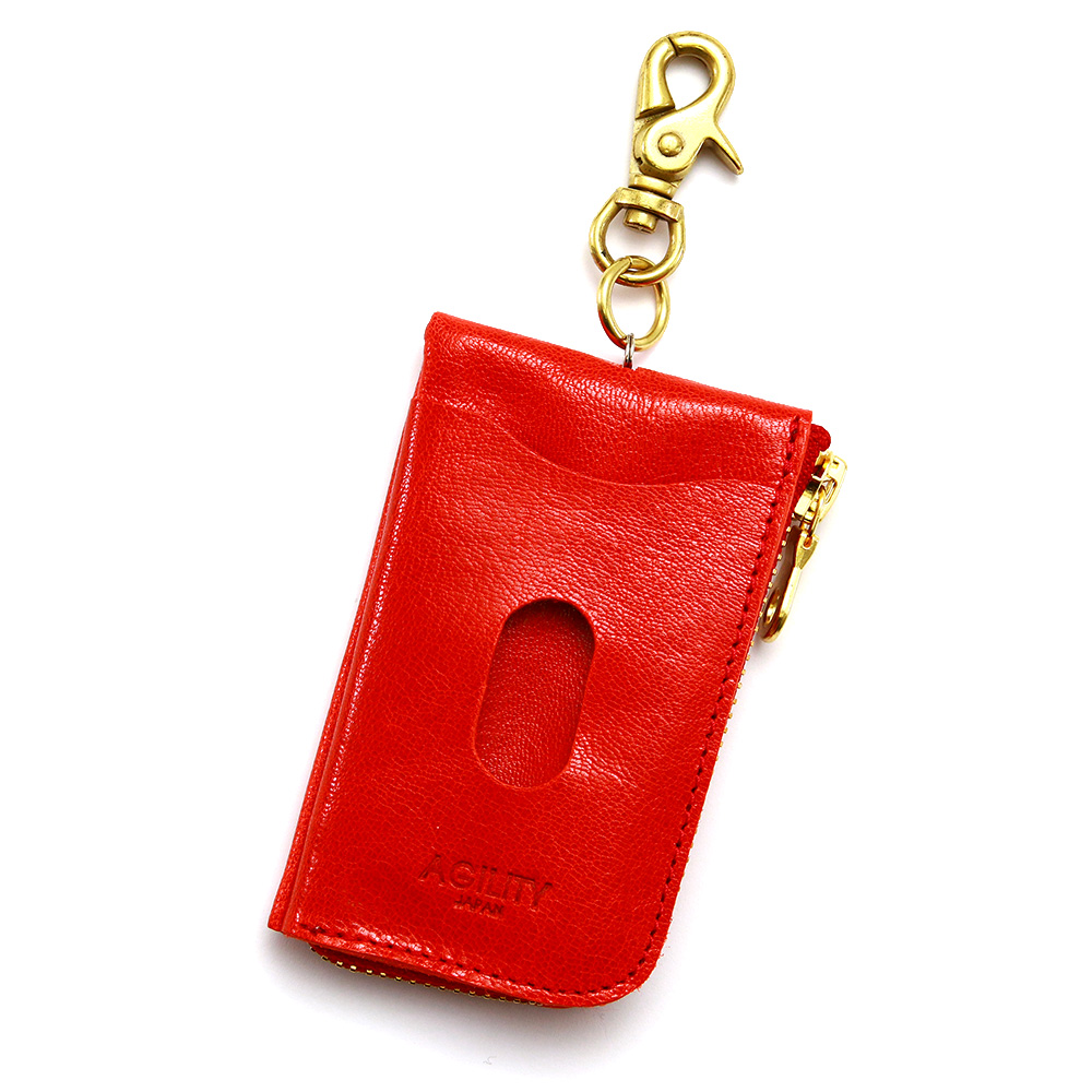 キーケース パスケース 一体型 リール付き 本革 ICカード L字ファスナー レッド